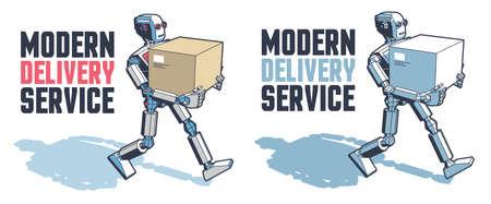 Robot man carries a parcel box