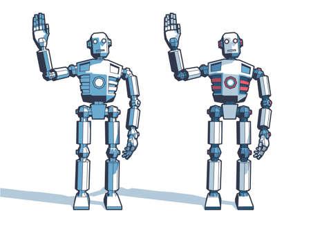 Hombre robot da la bienvenida agitando su mano