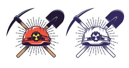 Logotipo de minería con pico de casco y pala en estilo retro vintage