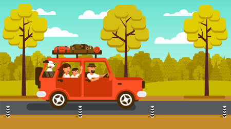 Family on the car goes on vacation on a country road in the background of the forest. Travel by SUV. Vector illustration.