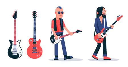 Bass guitar player in dark glasses in punk style. Grunge guitarist with a beard. Easy to edit - replace the musicians guitars.