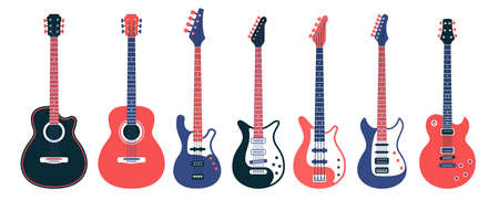 Electric guitars and acoustic different designs. Flat vector illustration.