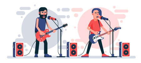 Rock singer with an electric guitar sings into microphone on stage. Rockstar character. Vector flat illustration. 일러스트