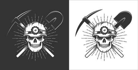 Logo del minatore in stile retrò. Teschio in un elmo da minatore