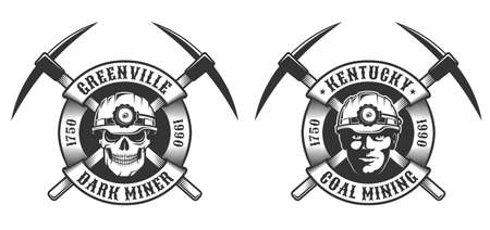 Coal miner vintage logo Stock Illustratie