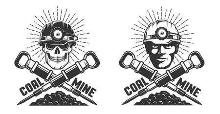 Logo kopalni z głową górnika i młotami pneumatycznymi Logo