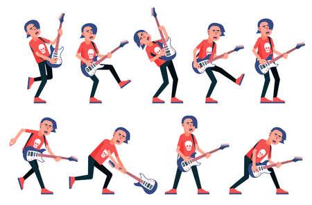 Guitarrista de una banda de rock - varias poses. Personaje de dibujos animados vector.