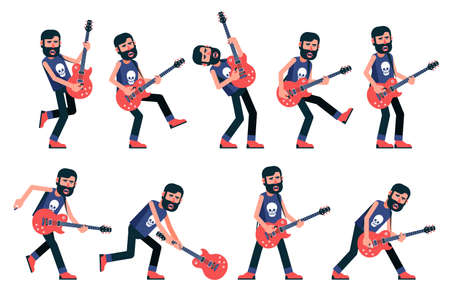 Rock musician with a beard playing an electric guitar. A set of emotional postures. Vector character. Illustration