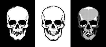 Pixel art style skull icon