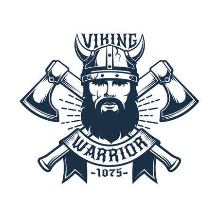 Viking warrior retro logo template 일러스트
