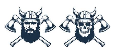 Viking emblem tattoo - bearded warrior 일러스트