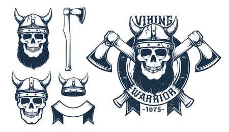 Viking skull emblem with crossed axes 일러스트