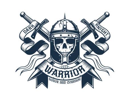 Skull warrior in helmet