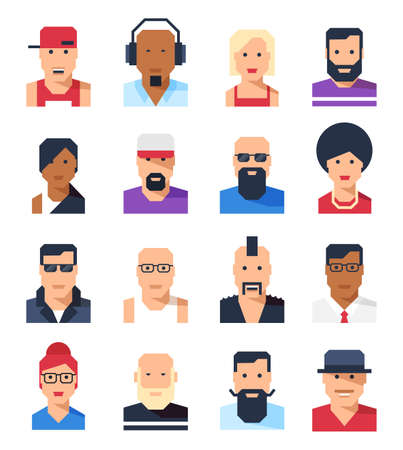 People avatars portraits. Abstract cartoon faces in flat style. Different social groups and looks. Vector illustration.