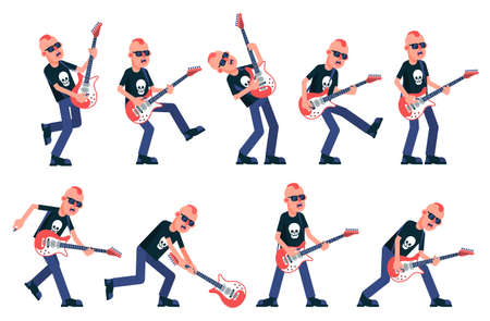 Rock guitarist from a punk band plays the electric guitar in various poses. Vector illustration.