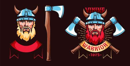Viking warrior retro logo with bearded Scandinavian