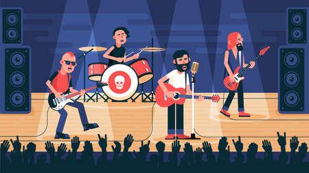 Banda de rock tocando en el escenario. El conjunto musical interpreta una canción en un concierto. Vector ilustración plana.