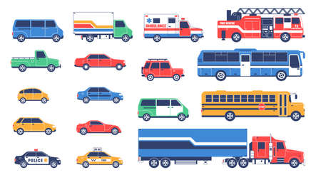 Large car set - including special services. Vector flat objects.