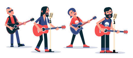 Singer with acoustic guitar - flat character. Vector illustration.