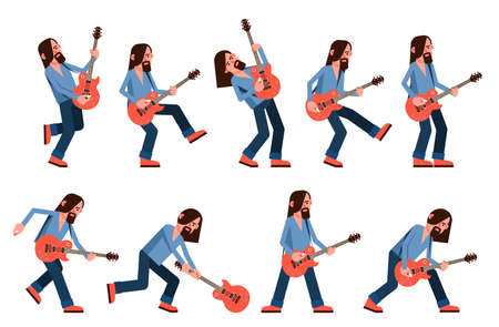 Solo guitarist with electric guitar - poses during a performance. Vector illustration.