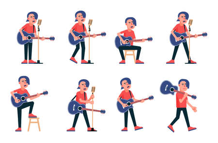 Singer with acoustic guitar in various poses. Vector flat character.
