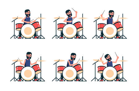 Drummer plays the drum set - different poses. Vector character. Illustration