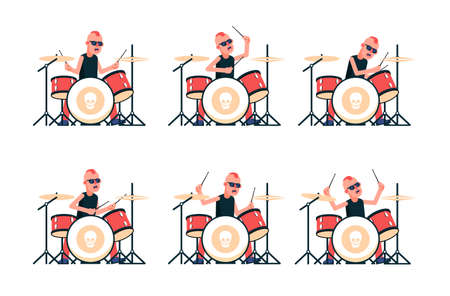 Punk rock band drummer playing drums. Vector character in various poses. Illustration