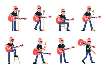 Singer guitarist with acoustic guitar in various poses. Rock Star with a punk hairstyle in black glasses. Vector isolated illustration. Stock Illustratie
