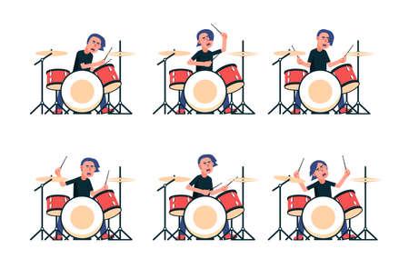 El baterista de la banda de rock toca la batería. Ilustración de vector aislado.