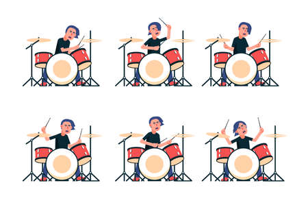 Rock band drummer plays the drum set. Vector isolated illustration.