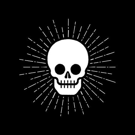 Skull icon with sunburst Stockfoto - 127223032