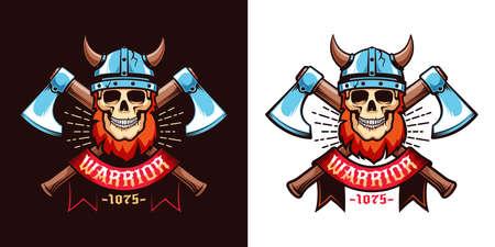 Viking skull logo template Stock Vector - 127223033
