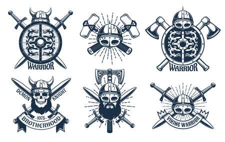Viking logo set in retro stamp style 일러스트