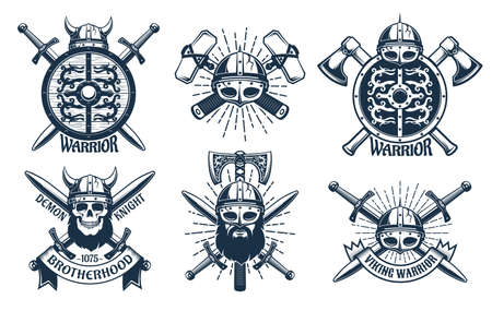 Viking logo set in retro stamp style  イラスト・ベクター素材