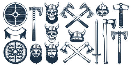 Viking weapon design elements for heraldic logo