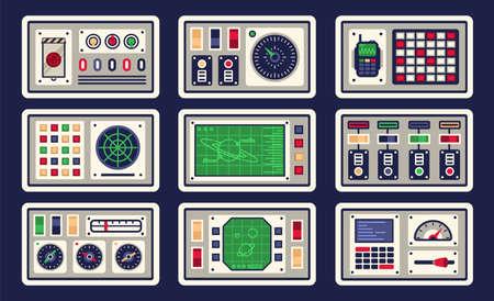 Bedienfeld im Raumschiff mit allen Arten von Bedienelementen. Vektor-Illustration. Vektorgrafik