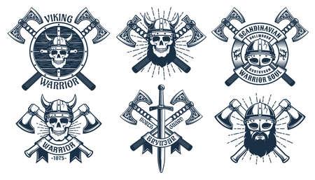 Viking warrior mascot set 일러스트