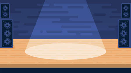 Empty stage for performances with the spotlight beam. Vector flat illustration.