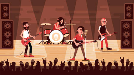 Rock band performs on stage Stock Illustratie