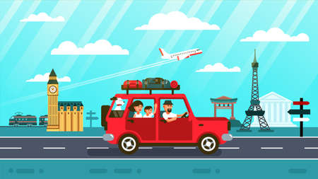 Family car travel around europe and world . Vector illustration in flat style.