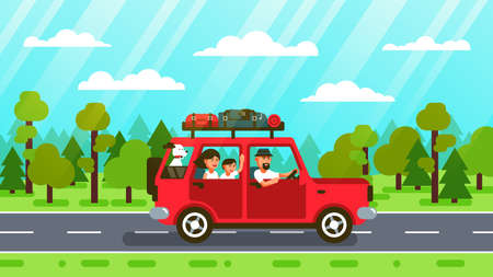 Family car trip on forest road. Vector illustration in flat style.