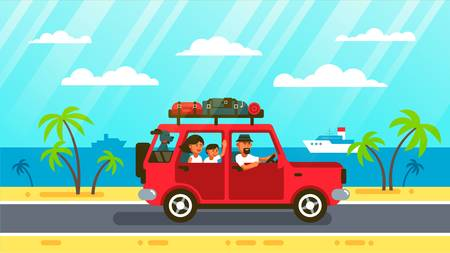Happy family rides by car with a dog along coats road, past palm trees and ships. Vector illustration in flat style.