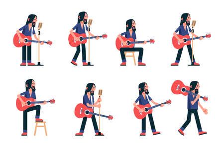 Singer playing acoustic guitar. Guitarist flat character poses. Vector illustration.