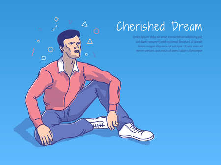 Dreamer man sits on the ground and looks at the distance with inspiration. The metaphor of the cherished dream