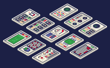Isometric 3d control panel of the spaceship. Includes all sorts of buttons radar tumbler switches. Vector illustration.