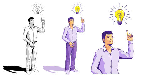 Idea - inspired man and light bulb. Solution found concept. Isolated Office man. Vector illustration in doodle style drawn by hand. Stock Illustratie