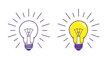Doodle light bulb hand drawn vector illustration. Idea concept icon. Stock Illustratie