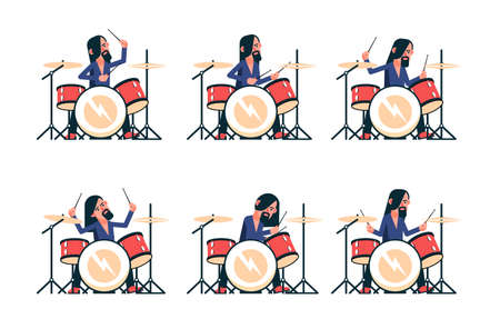 Rock band drummer playing drum set. Vector isolated character. Illustration