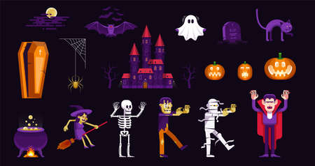 Halloween characters and icons set in cartoon style