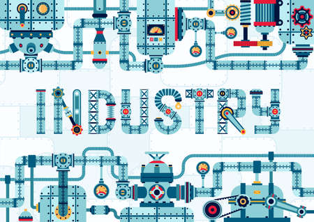 Steampunk industry frame banner of complex pipeline mechanisms and assemblies. Machinery template with the word industry. Çizim